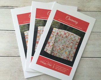 Charming - a Printed Quilt Pattern - Baby, Lap, and King Sizes - Layer Cake and Charm Pack friendly - Easy Quilt Pattern - Modern Quilt
