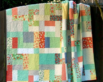 Grande Scrappy Tiles - Digital pdf Quilt Pattern - Fat quarter, 1/4 yard, and scrap friendly - Lap, Twin, and Queen Sizes
