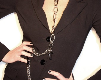 TREASURE SET - Chain Choker with Detachable Long Leash + Chain Cuff - Modular Body Chain - BDSM Gift