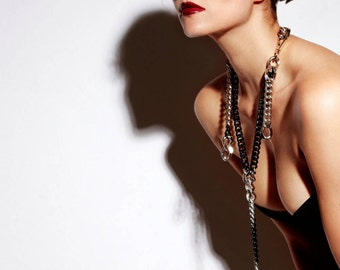 Chunky Rosary Necklace - Statement Y Necklace - Bold Lariat - Long Chain Necklace - Modern - Contemporary - Avant-garde - Punk - Fetish