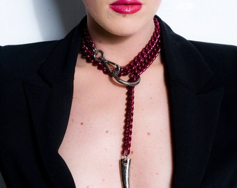 Discreet Day Collar - O Ring BDSM Chain Choker w. Leash Lead a. Claw Pendant - Gothic Y Chain Necklace - Red & Gunmetal - FORBIDDEN