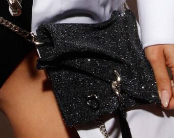 Glitter Fanny Pack - Leather Hip Bag - Elegant Waist Bag - Pocket Belt - Fanny Pack - Bum Bag - Tango - Gothic - Evening Waist Clutch