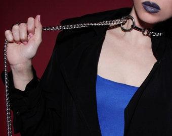 Bdsm Collar Bondage w. Leash - Choke Chain Slave Collar - Submissive - Cyberpunk - Gothic - Erotic - Bdsm Master - Berghain - Burning Man