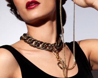 Tassel Chain Choker - Retro Bling Lariat - Glamour Slave Collar w. Removable Leash - Golden Age - Vintage - Two Toned Bronze & Gold -SWITCH