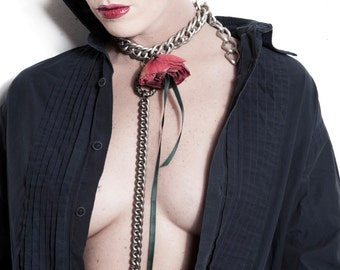 Flower Necklace - Vintage Slave Collar - Red Rose Chain Choker w. Leash - Victorian Steampunk Long Necklace - Bdsm - Story of O -PLEASED