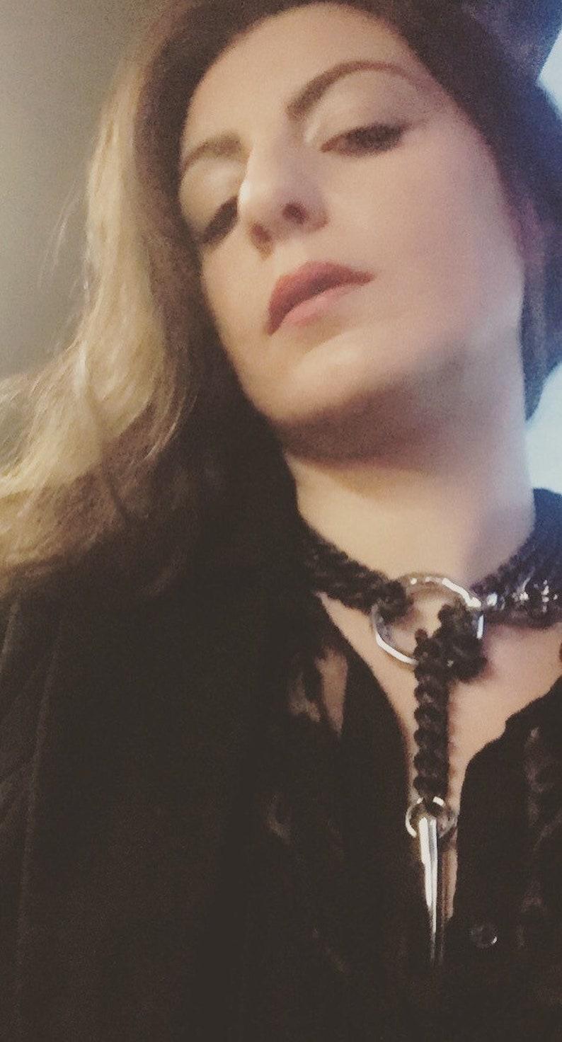 Bdsm Black Bondage Chain Collar & Leash Elegant Slave