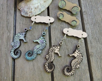 Seahorse Earrings - Set of 4; Ocean Earrings, Beach Earrings, Boho Earrings