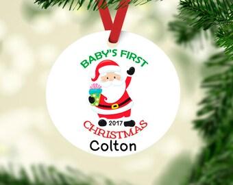 babys first christmas ornament keepsake ornament babys 1st christmas santa ornament personalized ornament babys 1st christmas