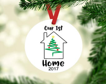 Our First Home ornament, 1st christmas ornament, new nome ornament, our new home keepsake ornament, housewarming gift, newlywed ornament