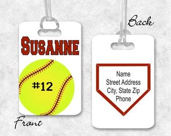 450d655f61ce Softball bat bag tag   Etsy