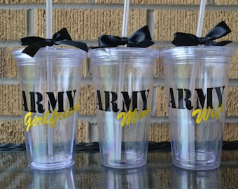 1 - Army Wife Mom Girlfriend Sister Tumbler Cup - Personalized