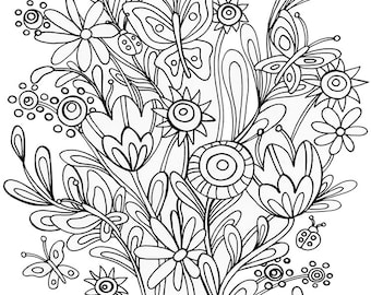Printable Coloring Book Page. Butterflies & Ladybugs. Instant Download