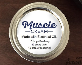 "Editable and Printable Labels for DIY Essential Oil Labels - Muscle Cream 2"" Round Sticker - Input your own ingredients"