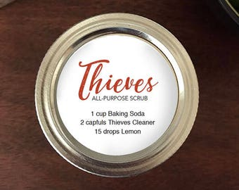 "Edit your own Thieves Soft Scrub Printable Labels -  2"" round labels - Add your ingredients or your contact info in editable pdf"