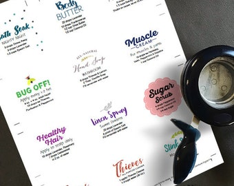 Variety Pack 2 - Editable, Printable Labels for All your DIY's with essential oils. Welcome Kit Digital Download