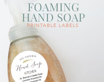 "Edit your own Foaming Hand Soap Printable Labels -  2"" round labels - Input your own ingredients in editable pdf"