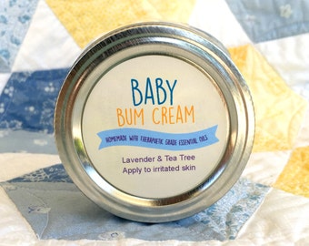 "Essential Oil Printable Labels - Baby Bum Cream 2"" round labels - Add your ingredients or your contact info in editable pdf"