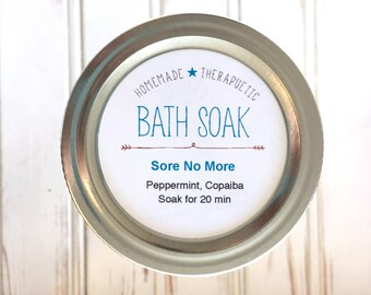 "DIY Printable Labels - Bath Soak Essential Oils Sore No More 2"" round labels - Add your ingredients in editable pdf"