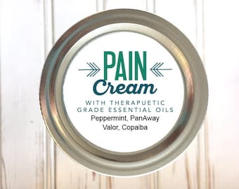 "Essential Oil Printable Labels - Pain Cream 2"" round labels - Add your ingredients or your contact info in editable pdf"