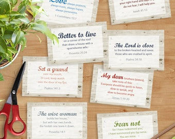 "Scripture Memory Verse Cards - 2.5"" x 3.75"" Wood Background Digital Download"
