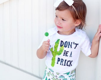 FUNNY BABY ONESIE - Don't be a prick - baby cactus onesie - funny baby shirt - cactus baby shirt - funny baby clothes - baby shower onesie