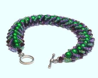 Handmade Beaded Beadwoven Bracelet in Purple and Green