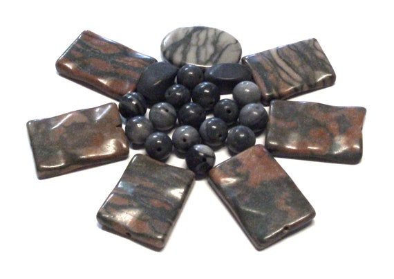 Grab Bag Bead Lot Destash Stone Bead Lot of Stone Beads in Grays and Blacks From Picture Shown Destash Mixed Grab Bag Lot of 3.5 Oz