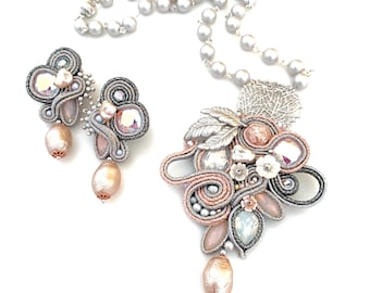Statement soft pink and silver necklace and earrings set - Swarovski crystals and pearls, rhodium plated bronze elements