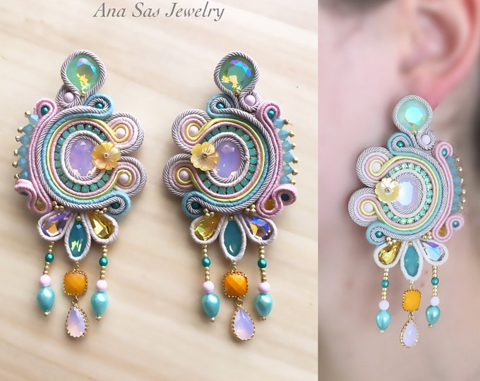 Fashion statement Swarovski soutache earrings, pastel colors