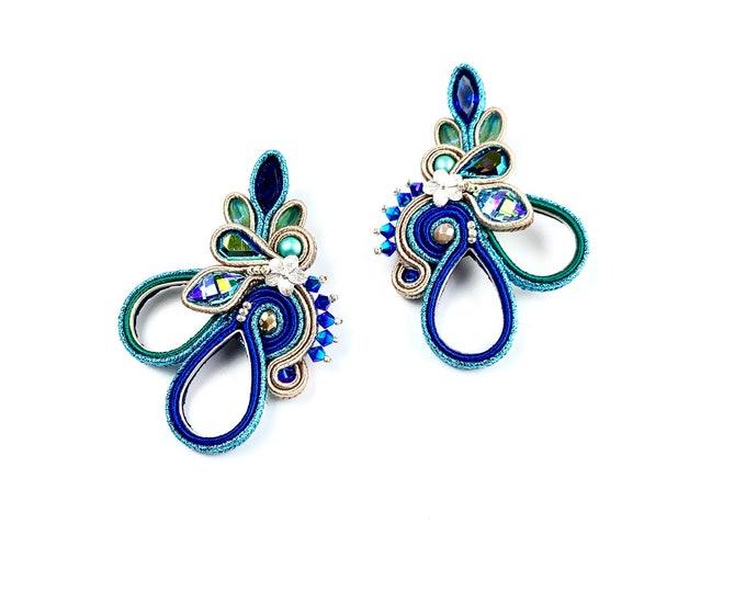 Statement blue Swarovski crystals earrings