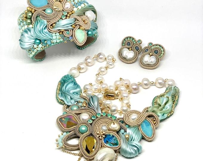Statement Swarovski crystals, natural silk, natural pearls set -necklace, bracelet, earrings- with gold plated details PRE-ORDER