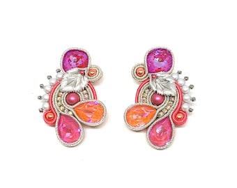 Swarovski silver earrings, leaves detailes