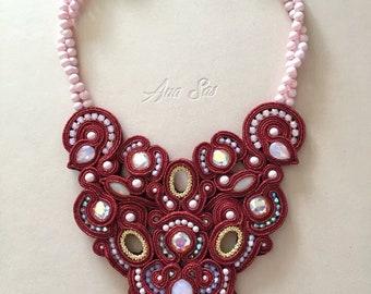 Statement Swarovski, Soutache bead embroidery necklace