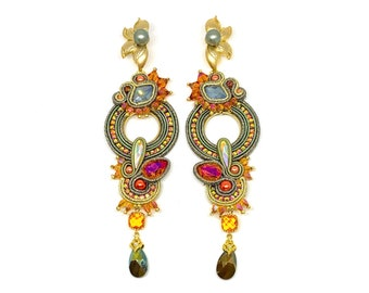 "Statement Swarovski Earrings ""Sunsets over the Saharan desert"""