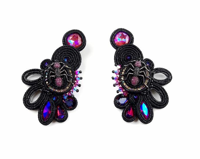 Statement black spider earrings, Swarovski crystals PRE ORDER