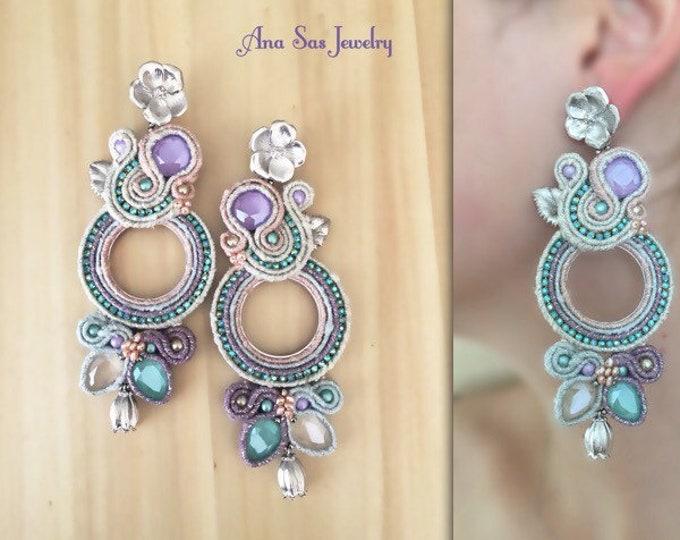 Statement soutache earrings, Swarovski crystals Wanderlust collections, flower details