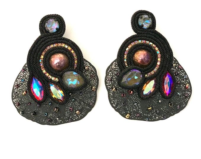 Statement black Swarovski earrings