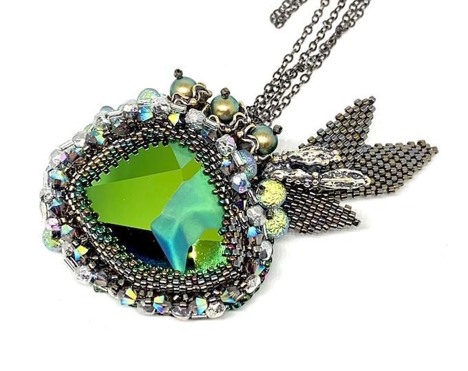 Statement green Swarovski bead embroidery pendant -necklace