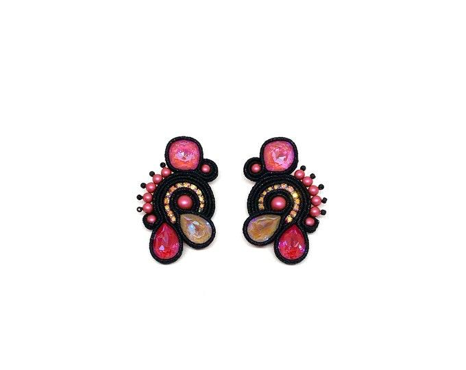 Black and pink medium Swarovski earrings