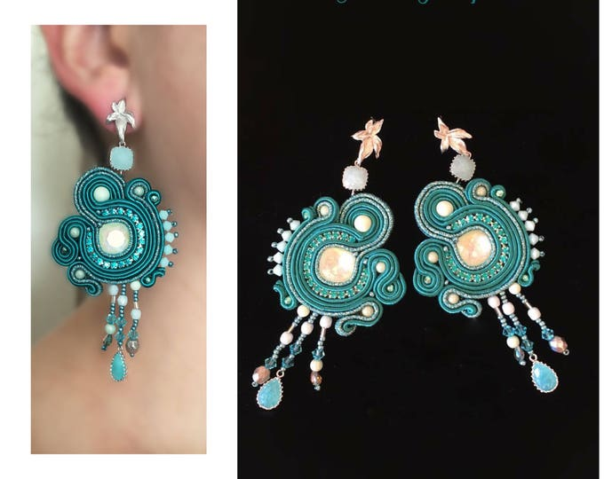 Green Swarovski Soutache Earrings