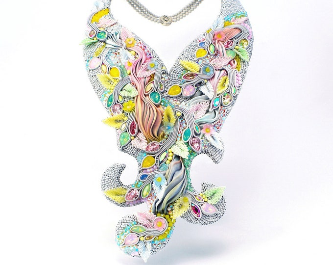Statement Swarovski crystals, silk and soutache necklace
