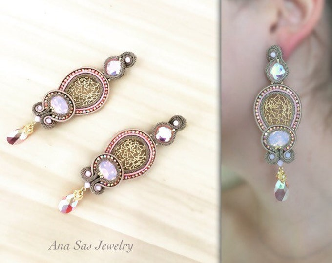 Statement Swarovski pink and gold soutache earrings