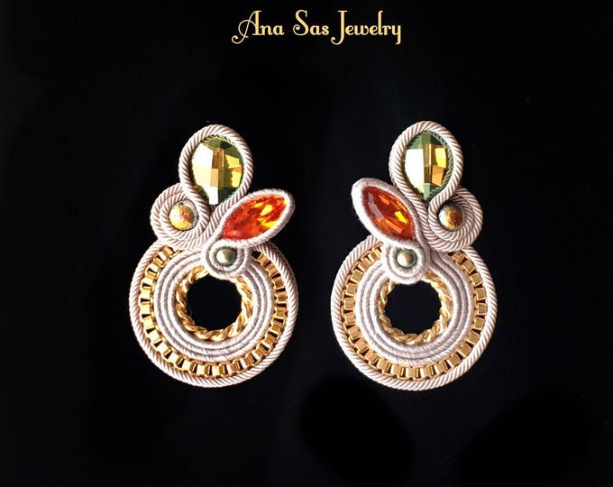 Statement soutache earrings gold plated detailes, green and orange Swarovski crystals