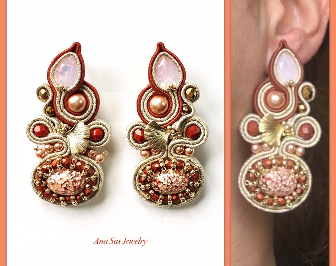 Statement Swarovski Soutache earrings