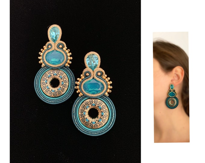 Statement turquoise earrings, Swarovski crystals, gold hand paint resin PRE-ORDER