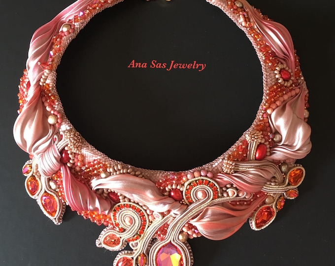 Statement bead embroidery and soutache necklace from shibori silk, Swarovski crystals and natural pearls