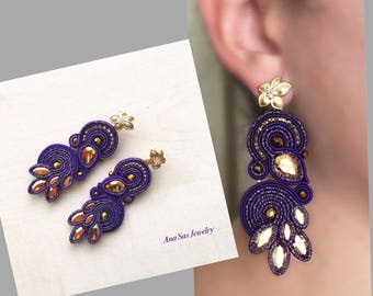 Purple Soutache Earrings- Swarovski Crystals and gold plated flower