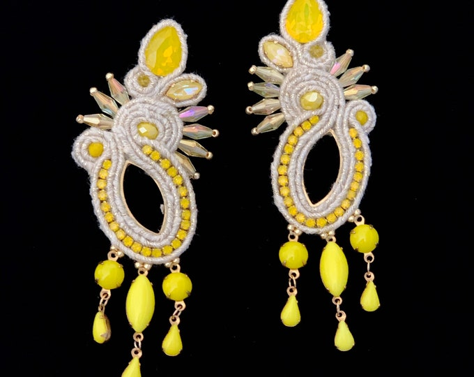 Statement Swarovski crystals earrings, yellow opal, gold and cream details