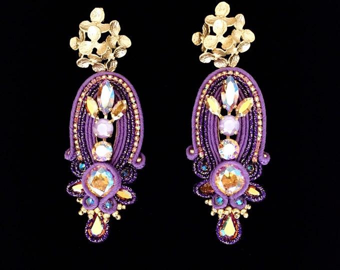 Statement purple Swarovski earrings