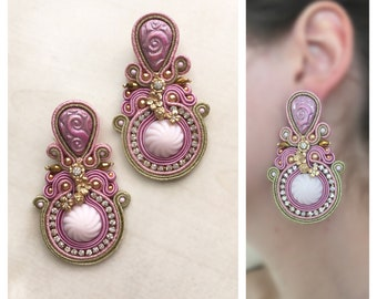 Statement pink and gold soutache earrings
